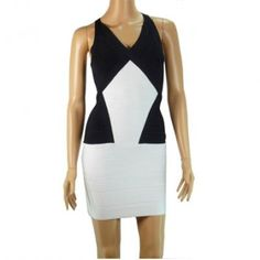 Herve Leger Halter Bandage Dress Black and White Dress P, Bodycon Dress, Herve Leger Dress, Colorblock Dress, Looking For Women, Dress Making, Stretch Fabric, Color Blocking, Curvy