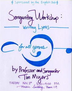 For an Eng. Club-sponsored songwriting clinic