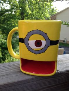 Minion dunk mug by HandPaintedNerd on Etsy, $28.00