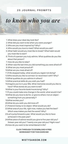 Know Who You Are With These 25 Questions — Misty Sansom – Best Journaling Prompts for Self-Reflection and Self-Discovery Self Development, Personal Development, Leadership Development, Therapy Journal, Morning Pages, Vie Motivation, Journal Writing Prompts, Journal Quotes, Writing Challenge
