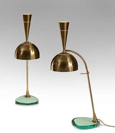 Roberto Rida: A Large Pair of Adjustable Brass and Vintage Glass Doppio Conetto Lamps image 2 Desk Light, Lamp Light, Light Art, Bauhaus, Chandeliers, A Table, Table Lamp, Cool Lamps, Vintage Lamps