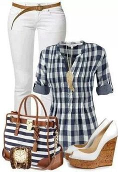 Pretty plaid shirt with white pants, blue and white striped bag, and brown and white wedges.