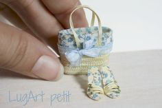 dollhouse miniature light blue bag with sandals