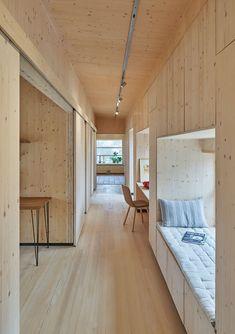 Summer House Interiors, Cottage Interiors, Dorm Design, House Design, Plywood Interior, Built In Bunks, Art Studio At Home, Interior Architecture, Interior Design