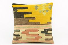 Geometric yellow kilim pillow    Ethnic pillow by GalenUnique, $27.00