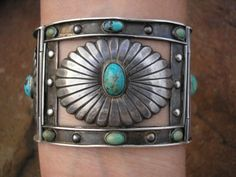 Fred Davis Turquoise and Silver Concho Link Bracelet