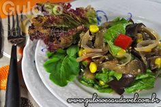 Receita de Salada de Berinjela e Folhas Verdes