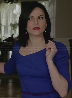 Regina's blue folded front dress with tie back on Once Upon a Time.  Outfit Details: http://wornontv.net/31022/ #OUAT