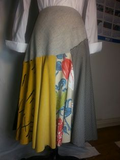 Plus size circle skirt in a patchwork of textures and fabrics. Vyphuis.etsy.com
