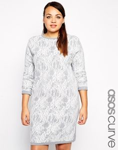 ASOS CURVE Exclusive Knitted Dress In Bonded Lace