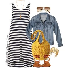 "#plus #size ""Plus Size - Stripe Dress"" by alexawebb on Polyvore"