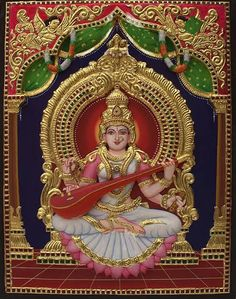 Gouache Painting, Mural Painting, Mural Art, Mysore Painting, Tanjore Painting, Saraswati Goddess, Kali Goddess, Durga Maa, Hanuman