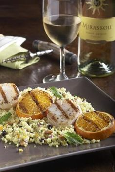 Grilled Sea Scallops over Saffron Couscous Grilled Sea Scallops, Wine Magazine, Couscous, Potato Salad, Seafood, Grilling, Bbq, Healthy Recipes, Napa Valley