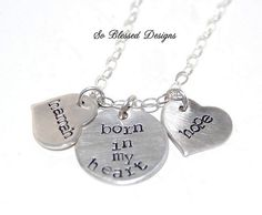 Mothers Keepsake ADOPTION Necklace Born in my by SoBlessedDesigns, $49.00