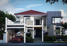 Architect Design House, Duplex House Design, 2 Story Houses, Two Story Homes, Two Story House Design, Types Of Houses, Modern Interior, Beautiful Homes, House Plans