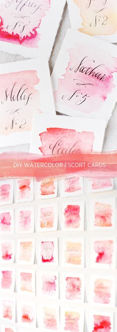 watercolor escort cards in shades of pink * {once wed -- diy wedding watercolor escort cards, Photography: Erich McVey | Styling: Ginny Au | Flowers: Cloth of Gold | Calligraphy & Watercoloring: Holly Hollon}