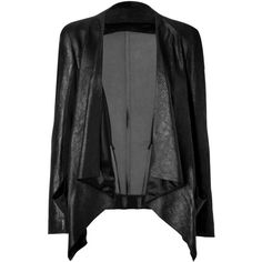 DONNA KARAN NEW YORK Black Draped Combo Leather Jacket ($1,110) ❤ liked on Polyvore featuring outerwear, jackets, coats, leather jacket, cardigans, fitted jacket, draped leather jacket, fitted leather jacket and drape jacket