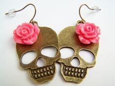 Day of the Dead Girl Skull Earrings with Pink Coral Flowers, Bronze Metal Skull Dangles, Dia de Los Muertos Jewelry - Huesos. $11.50, via Etsy.
