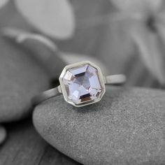 14k oro blanco anillo de piedras preciosas del Morganite