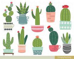 Cactus potted clip art succulent clipart tribal cacti