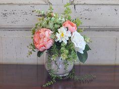 Silk Flower Arrangement for Rustic Home Decor by HannahsBloomsShop