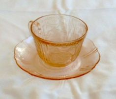 """""""America's Sweetheart"""" Pink Cup and Saucer Depression Glass"""
