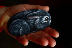 Hand-Painted Rabbit Rock by PlatypusCanada on Etsy