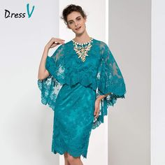 New Year Mother of the bride Dresses 2016 Modest Short Teal Blue Wedding Guest Dress Lace Sheath O-neck with Shawl Formal Dress - CEOsShop Blue Wedding Guest Dresses, Teal Prom Dresses, Event Dresses, Wedding Party Dresses, Fall Dresses, Formal Dresses, Bride Dresses, Dresses 2016, Teal Blue Weddings