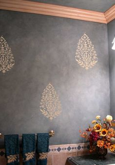 Try wall stencils instead of expensive wallpaper! Cutting Edge Stencils offers the best stencils for DIY decor - stencils expertly designed by professional decorative painters Janna Makaeva and Greg Swisher with over 20 years of painting experience. We are a reputable stencil company who stands behind its high quality product. We are honored to have your 100% positive feedback :)  Exotic Stencil Paisley for easy wall decor! Perfect stencil for walls, furniture and fabric embellishment. Super…