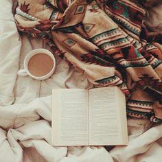 good book. blanket (so pretty). tea (yum!)