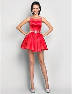 A-line Scoop Short/Mini Charmeuse Cocktail/Prom Dress  – USD $ 99.99