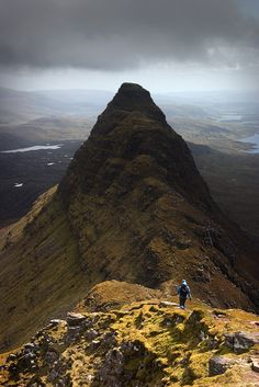 Suilven may be only 731 metres high, but its unique outline, challenging remoteness and superlative views make it one of the finest mountains in Britain. Paths throughout ..one section is very boggy, and the climb to the ridge is very steep. Very simple scrambling on the ridge.