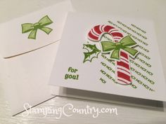 Candy Cane Season Stampin' Up! Christmas Candy, Christmas And New Year, Christmas Holidays, Christmas Crafts, Merry Christmas, Stampin Up Cards, Candy Cane, Cute Gifts, Holiday Cards