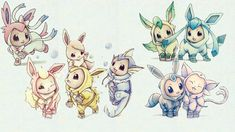 Eevee in flareon, vaporeon, jolteon, espeon, umbreon, glaceon, leafeon, and sylveon costumes. My daughter likes espeon and glaceon.