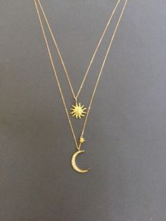 Sun and Crescent Moon Necklace Double Layered Necklace by Muse411