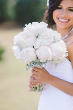 Pretty White Peony Bouquet | South Carolina Wedding from Pasha Belman and Stunning & Brilliant Events | Read more - http://www.stylemepretty.com/little-black-book-blog/2013/08/14/south-carolina-wedding-from-pasha-belman-and-stunning-brilliant-events/