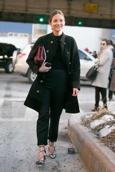 The trick to making all-black so much more than basic is all in the accessories, just ask Maria Duenas Jacobs.  Source: Melodie Jeng/The NYC Streets
