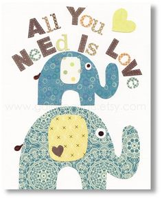 All You Need Is Love... print for kids room.