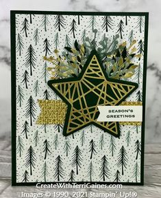Creating with Tidings of Christmas Suite & Card Samples using Page 88 Card Sketch Designs (video & download - 9 of 10) - Create With Terri Gaines 21 Cards, Star Cards, Note Cards, Holiday Cards, Christmas Cards, Christmas Stocking, Fun Fold Cards, Stampin Up Christmas, Sketch Design