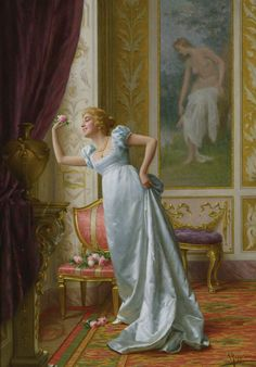 The Attraction :: Vittorio Reggianini - Romantic scenes in art and painting Victorian Paintings, Victorian Art, European Paintings, Classic Paintings, Italian Painters, Italian Artist, Romantic Scenes, Regency Era, Fine Art