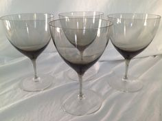 HOLMEGAARD PER LUTKEN Elsinore / Copenhagen Smoke Glass Midcentury Mod 1960's Scandinavian Rare Set / Barware - Eggshell Thin Water Goblets