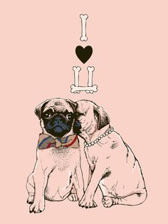 The Love of Pug Art Print