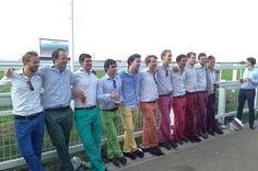 So many colours of chino, so little time. Red Trousers, Rainbow Hair, Rainbow Stuff, Groom Outfit, Private School, Over The Rainbow, Colourful Outfits, Great Pictures, Funny Pictures