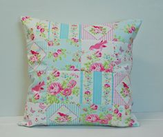 Zoey's Garden Patchwork Pillow Cover Shabby Chic by stitchbyzura