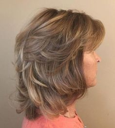 50 Modern Haircuts for Women over 50 with Extra Zing - Mid-Length Layered Tousled Hairstyle - Medium Length Hair With Layers, Medium Layered Hair, Medium Hair Cuts, Medium Hair Styles, Curly Hair Styles, Haircut Medium, Mid Length Hair Styles For Women Over 50, Medium Curly, Medium Long