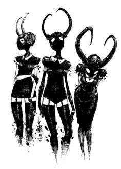 Estampa três demônios