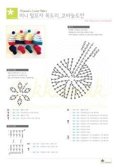 코바늘 자작도안 : 미니 털모자&목도리 미니사이즈 : 네이버 블로그 Crochet Keychain Pattern, Crochet Bear Patterns, Doll Sewing Patterns, Crochet Doll Pattern, Crochet Chart, Knitting Patterns, Crochet Brooch, Crochet Bows, Love Crochet