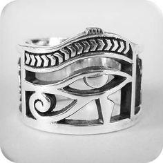 925 Sterling Silver eye of Horus ring All Size Style Heavy Biker Harley Rocker Men's Jewelry