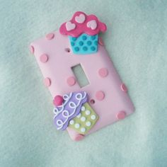 Items similar to Cupcake Light Switch Cover or Outlet Cover - Pink, Lavender, Turquoise - Cupcake Nursery Decor - Cupcake Themed Room Decor - Polymer Clay on Etsy Cupcake Bedroom, Cupcake Nursery, Art Studio Room, Cupcake Crafts, Candy Land Theme, Free Samples By Mail, Cute Room Decor, Flower Lights, Cute Clay