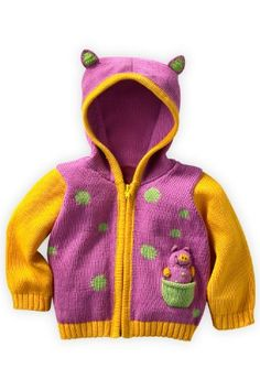 Joobles Organic Baby Cardigan Sweater - Squeaky the Pig (0-6 Months) 100% organic tanguis cotton, Oeko-tex certified dyes. Generously sized for baby to grow into. All parts, including pocket buddy knit in for ultimate safety. Machine wash gentle. Made fairly at small cooperatives in Peru.  #Joobles #Apparel